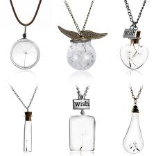 glass bottle necklace pendant images Make a wish glass bead orb natural dandelion seed in glass long jpg