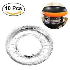 couvre si e 10 pcs épaissie en aluminium feuille ronde poêle brûleur couvre four