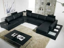 Black Leather Sofa Modern Decorating Your Home Decoration With Amazing Awesome Living Room