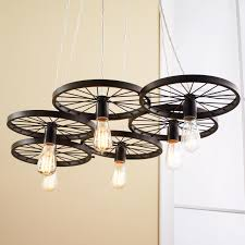 vintage spoke wire wheel chandelier shades light