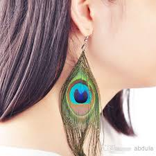 peacock feather earrings 2018 peacock feather earrings real feather earring peacock feather