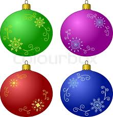 vector tree decoration set glass balls with snowflakes