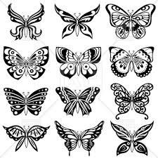 set of ornamental black butterflies vector clipart image 111633