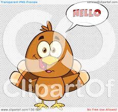 clipart of a cartoon cute thanksgiving turkey bird saying hello