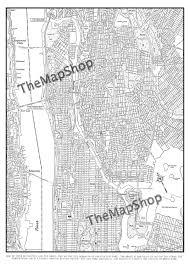 New York Botanical Garden Map by New York City Map Manhattan Street Map Vintage Print Poster
