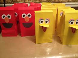 where to buy goodie bags finished big bird and elmo party favor bags using these for our