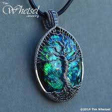 dark blue opal silver wire wrap tree of life pendant opalescent glow in the