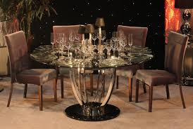 Bases For Glass Dining Room Tables Rounded Glass Dining Table With Brown Varnished Wooden Frame Mixed