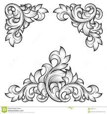 baroque leaf frame swirl decorative design element stock vector