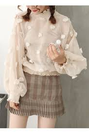 high neck ruffle blouse floral pattern balloon sleeves high neck ruffle trimmed