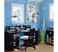 Amusing Blue Wall Painted Schemes Feat Black fice Table Shelf