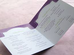 purple wedding programs real palettes green and purple winery reception