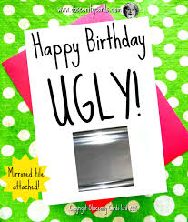 mirror card happy birthday ugly mirror tile attached