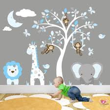 jungle animal nursery wall art stickers jungle wall art decals with sleeping moon