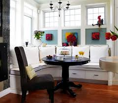 Banquette Seating Dining Room Black Color Small Round Breakfast Nook Table With Pedestal Base