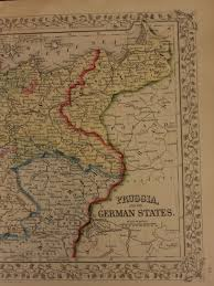Bohemia Map 1866 Color Steel Engraved Map Of Prussia Germany Austria Bavaria