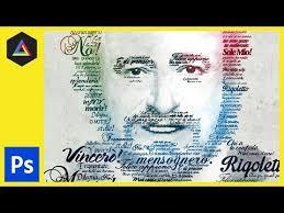 typography portrait tutorial photoshop elements typographic portrait pavarotti adobe photoshop tutorial