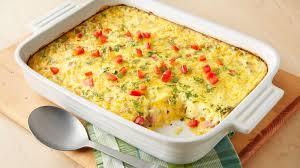 egg strata casserole overnight brunch egg bake recipe pillsbury com