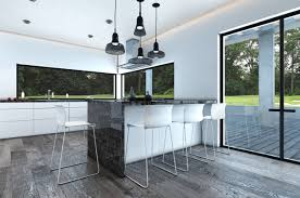 cool black and white kitchen bar interior set with window