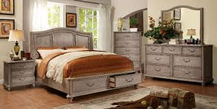 Furniture Of America Bedroom Sets Natural Rustic Tone Finish Queen Size Wooden Headboard Bed