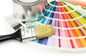 paint color chart sample swatches paint brush and can stock