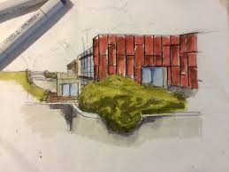 copic markers presentation sketch kevin grove house qut