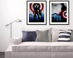 Captain America Decor Home Wall Decor Etsy