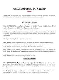 Flags Of Our Fathers Script Jose Rizal U0027s Childhood Script Religion And Belief