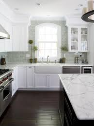 inspired white subway tile backsplash for traditional kitchen