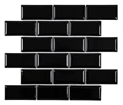 subway tile images subway tile 2x4 glossy black beveled mineral tiles