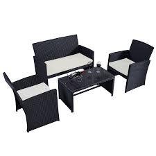 Backyard Furniture Set by Costway 4 Pc Rattan Patio Furniture Set Garden Lawn Sofa Wicker