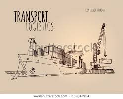 cargo ship with crane download free vector art stock graphics