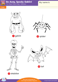 spooky goblin worksheet u2013 vocabulary coloring super simple