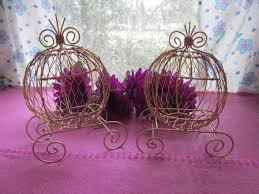 gold mini cinderella carriages set of 2 for weddings or baby