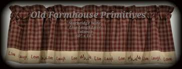 Primitive Kitchen Curtains Curtains Sturbridge Wine Live Laugh Love