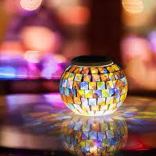 Solar Powered Christmas Window Decorations by Aliexpress Com Buy Solar Powered Mosaic Glass Ball Garden Lights