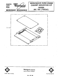 Microwaves That Mount Under A Cabinet by Whirlpool Mw Under Cabinet Mounting Kit Parts Model Mk100