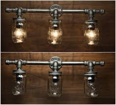 com 3 mason jar light pipe light vanity light edison light rustic light light wall light wall sconce steampunk light