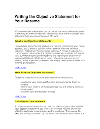 Objectives In Resume Example by Resume Statements Examples