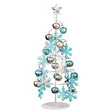 ornament display tree tabletop silver with ornaments ornament