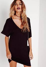 tall black wide v neck t shirt dress missguided