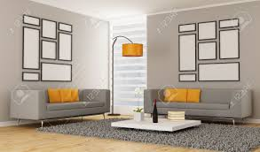 contemporary living room with two sofa rendering stock photo