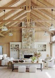 Cathedral Ceiling Lighting Ideas Suggestions by Beach Barn House Style Home Tour Stone Fireplaces Barn Houses