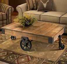 Wooden Coffee Table With Wheels by Hand Crafted Plank Style Table With Wheels Has The Look Of An Old