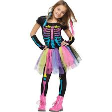 Halloween Costumes For Girls Size 14 16 Amazon Com Fun World Funky Punk Bones Child U0027s Costume Medium 8
