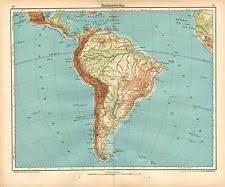 chile physical map antique south america physical maps ebay