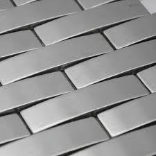 Arched Metal Mosaic Wall Tile Backsplash SMMT Silver Brushed - Stainless tile backsplash