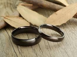 matching wedding bands handmade black dome plain matching wedding bands rings set ti