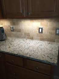 Brown Subway Travertine Backsplash Brown Cabinet by We Selected A Rich Venetian Gold Granite With An Simple Yet