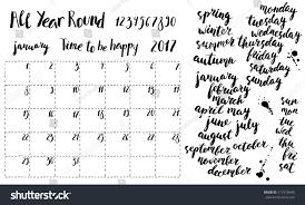 hand written ink monthly planner template stock vector 517579540